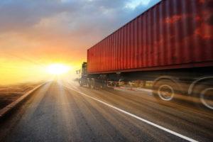 A semi truck speeding