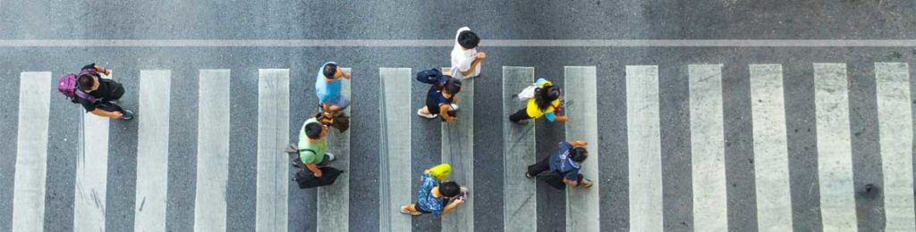 Arial view on a pedestrian crossing.