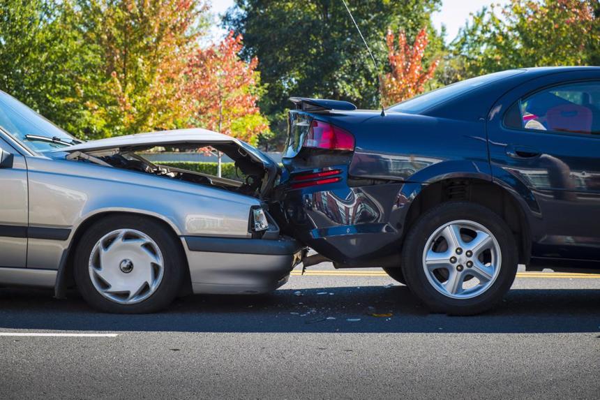 A rear-end car accident in Fairfield.