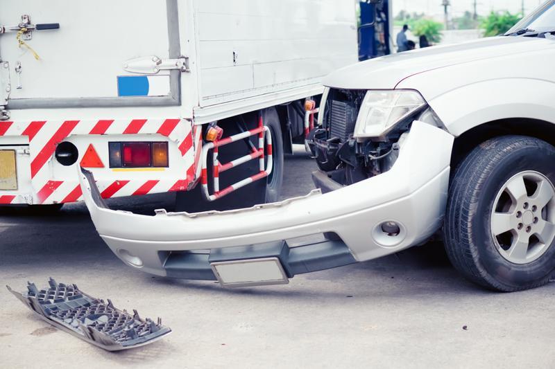 Car that has crashed into a truck in Calera, AL.