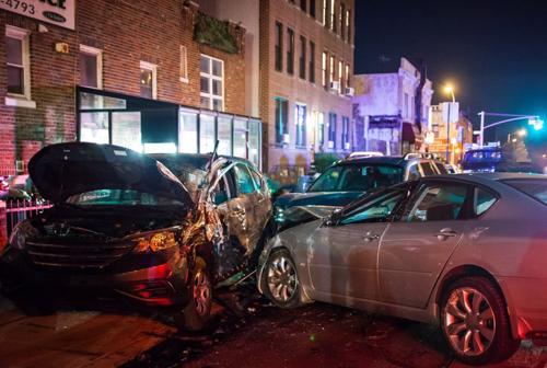A multi-car accident scene in Cullman, AL.